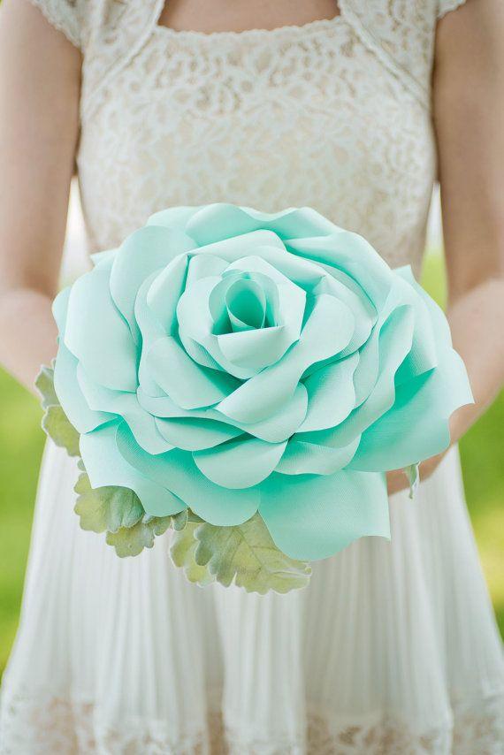 Custom Seafoam Big Paper Flower, Paper Bouquet, Handmade Flower ...