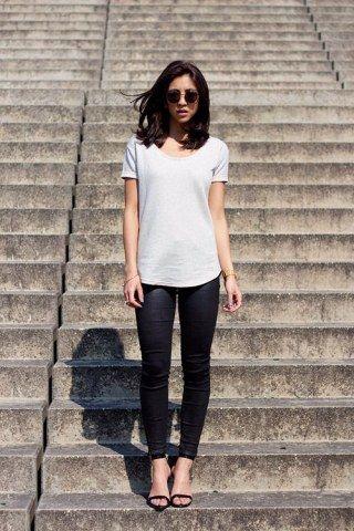 Weißes T-Shirt kombinieren: Look 6