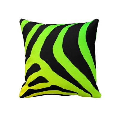 Green and Yellow zebra print pillow-Purple and yellow on the back side