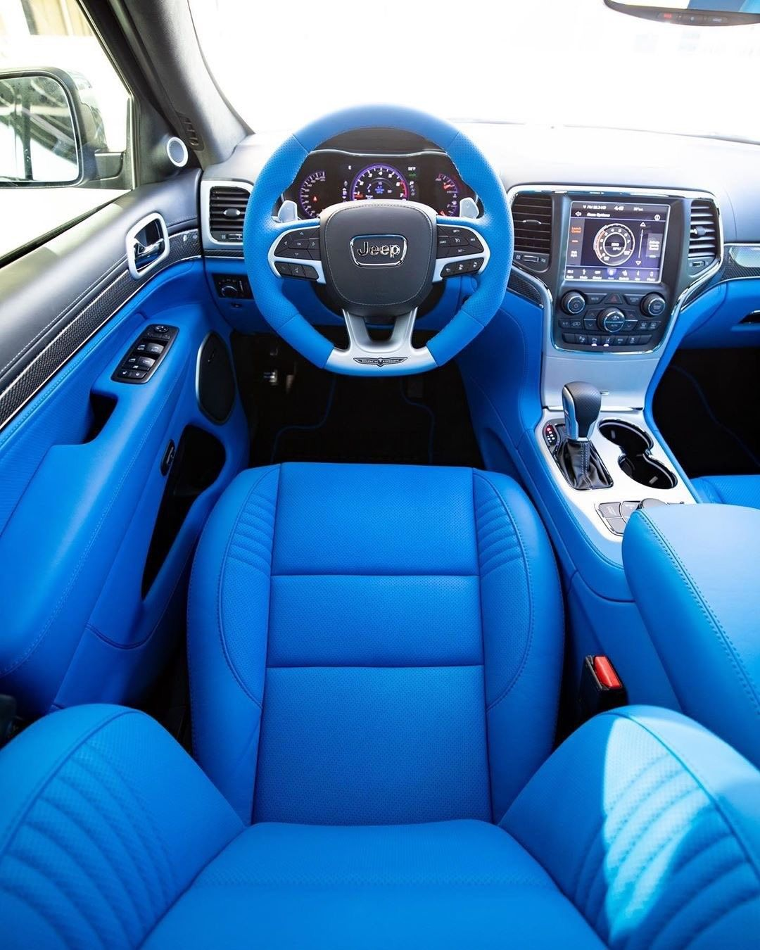 James Harden Went Crazy With The Full Blue Interior In His Trackhawk In 2020 Car Inspiration Car Seats Blue Interior