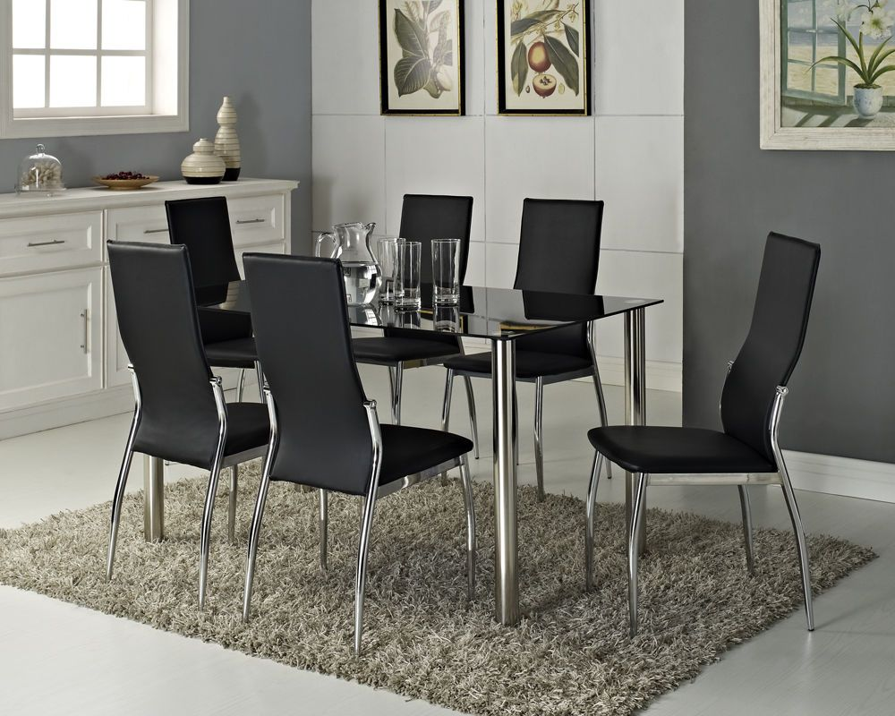 Black Glass Dining Table Set And With 4 Or 6 Faux Leather Chairs Chrome  Legs New