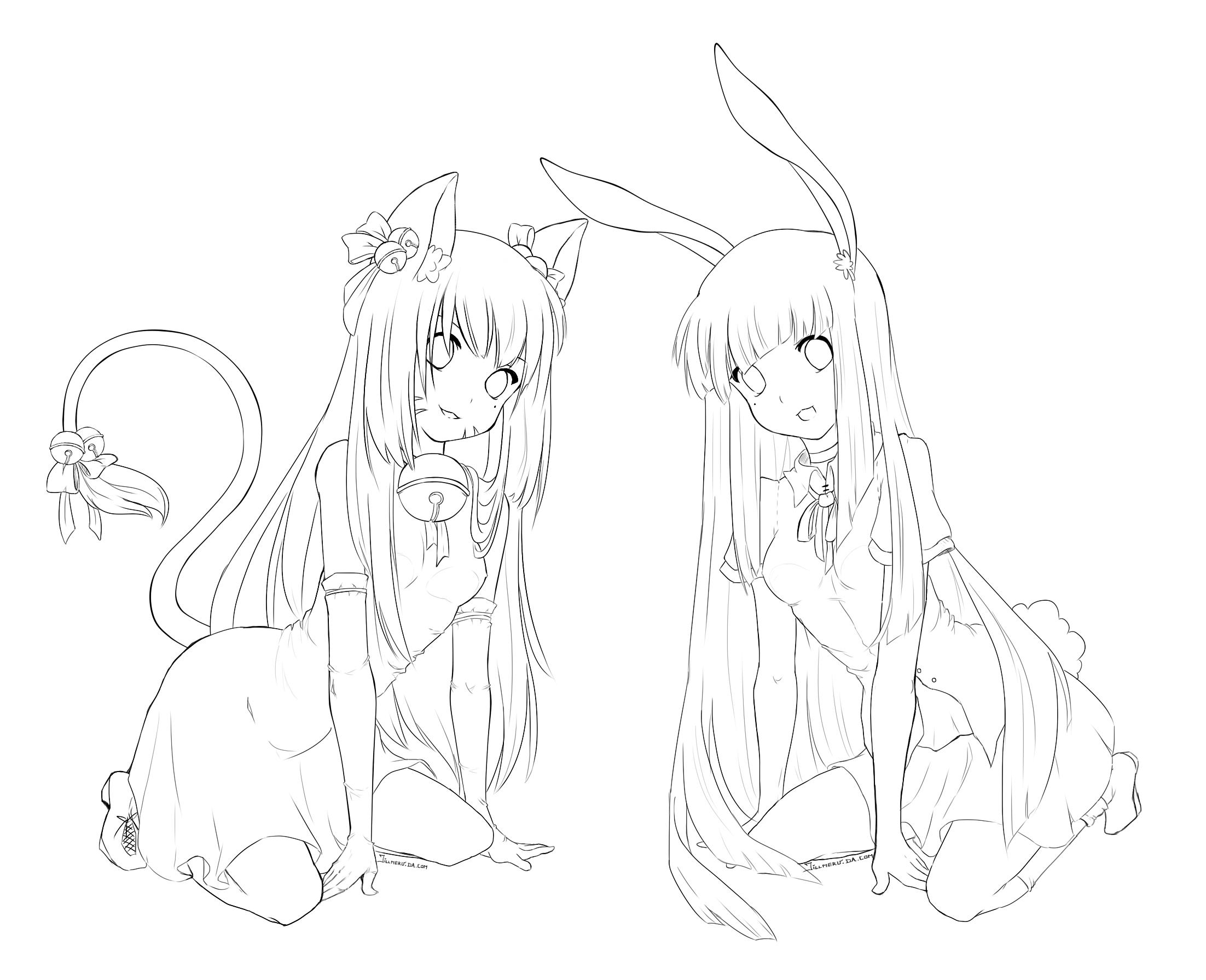 Cat and Bunny Free Lineart by Jillmeru.deviantart.com on ...