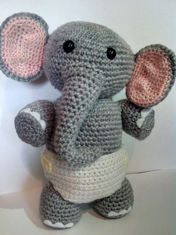 Crochet baby elephant elephant in a nappy soft toy elephant crochet baby elephant elephant in a nappy by carrottopscharacters negle Gallery