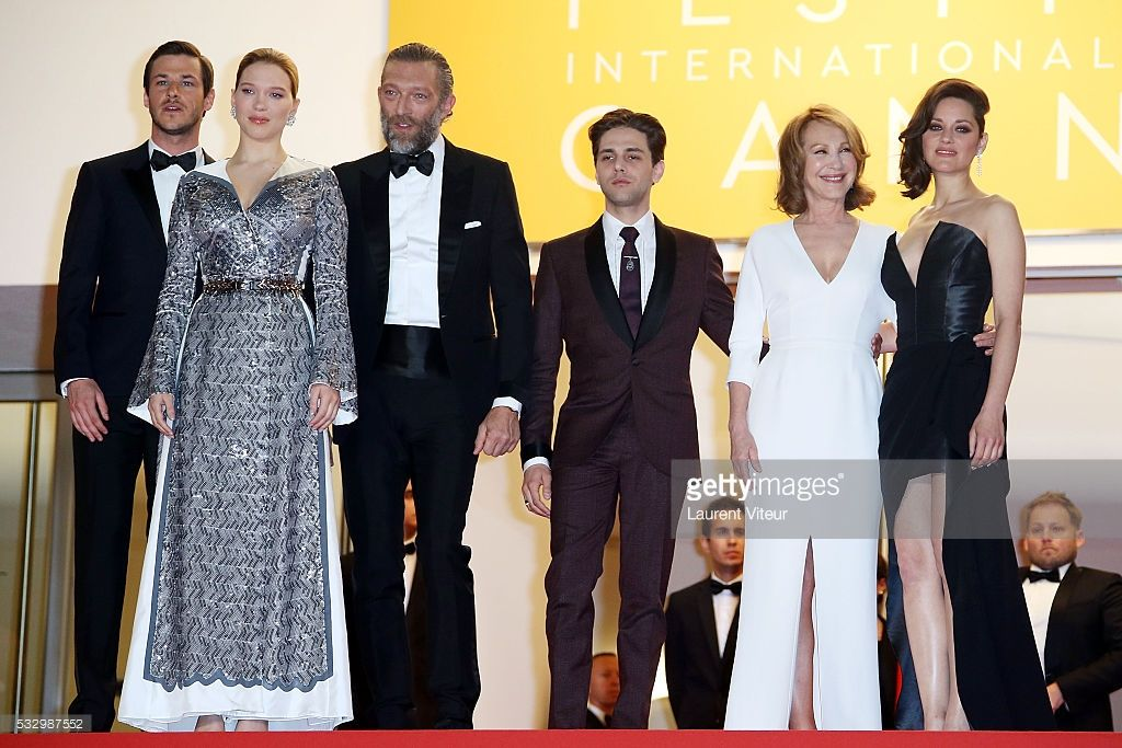 Gaspard Ulliel, Lea Seydoux, Vincent Cassel, Xavier Dolan, Nathalie Baye and Marion Cotillard attend the 'It's Only The End Of The World (Juste La Fin Du Monde)' Premiere during the 69th annual Cannes Film Festival at the Palais des Festivals on May 19, 2016 in Cannes, .