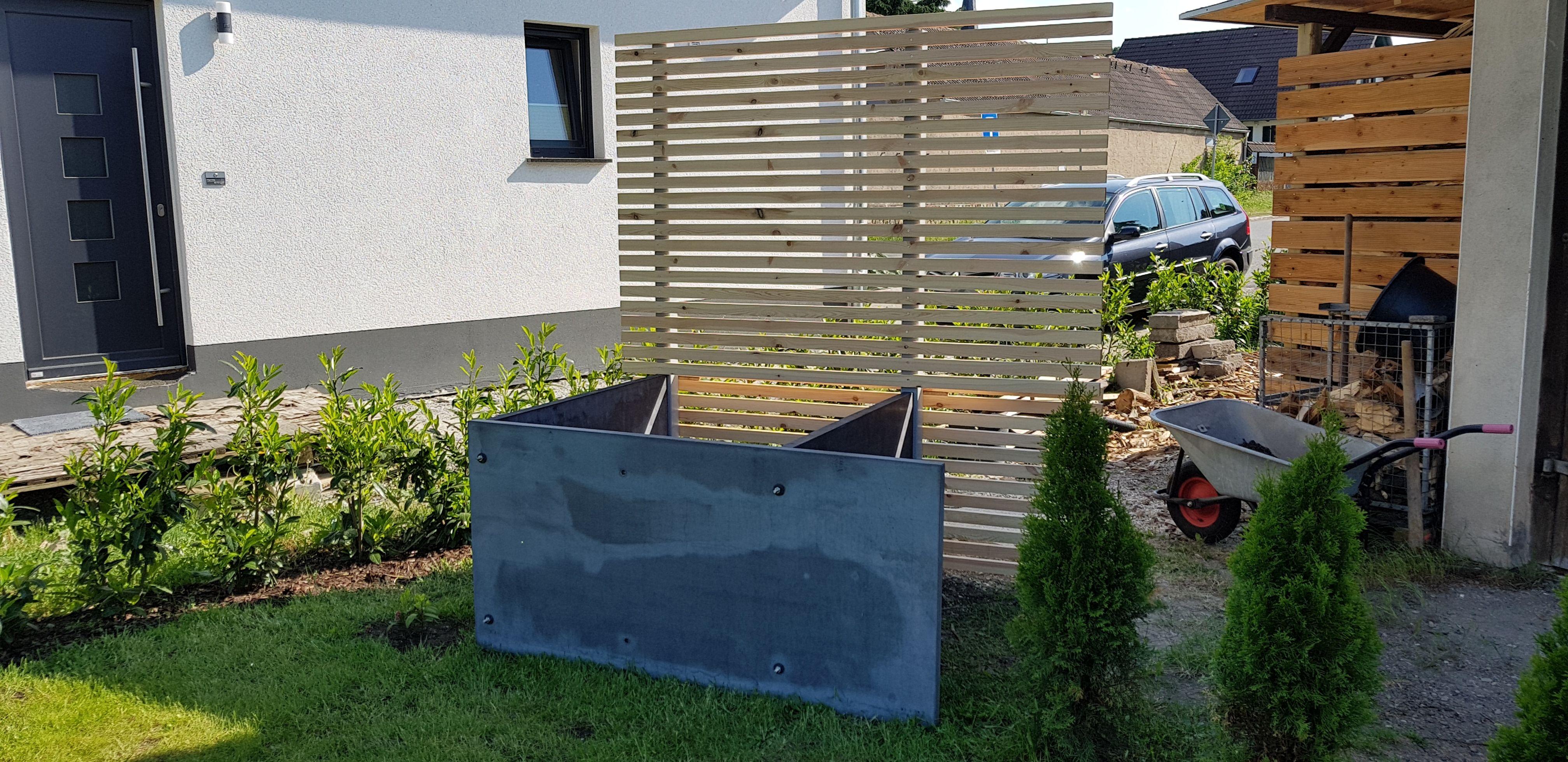 hochbeet-beton & holzsichtschutz eigenbau,-idee | sichtschutz