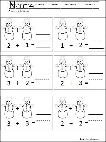 Snowman Button Addition For Kindergarten | Addition activities ...
