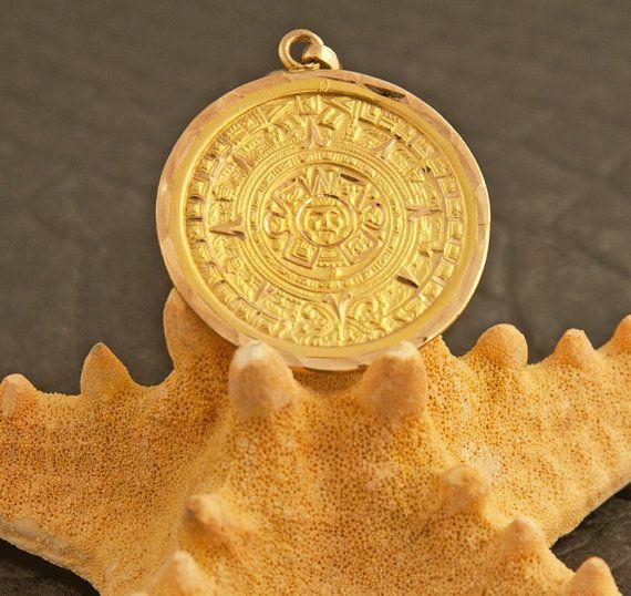 Vintage 12 karat gold aztecmayan calendar pendant by 24kgreen vintage 12 karat gold aztecmayan calendar pendant by 24kgreen aloadofball Image collections