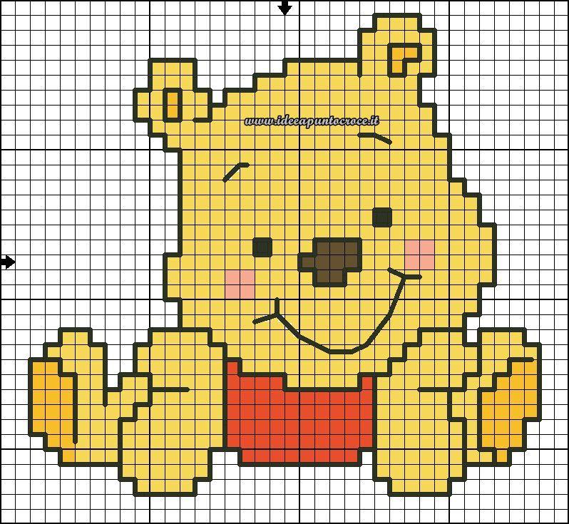 schema winnie pooh | C2C crochet | Pinterest | Punto de cruz, Puntos ...