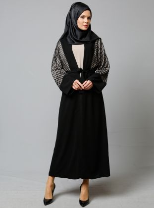 Abiye Ferace Elbise Ikili Takim Siyah Mervin Moda Stilleri Elbise Taki