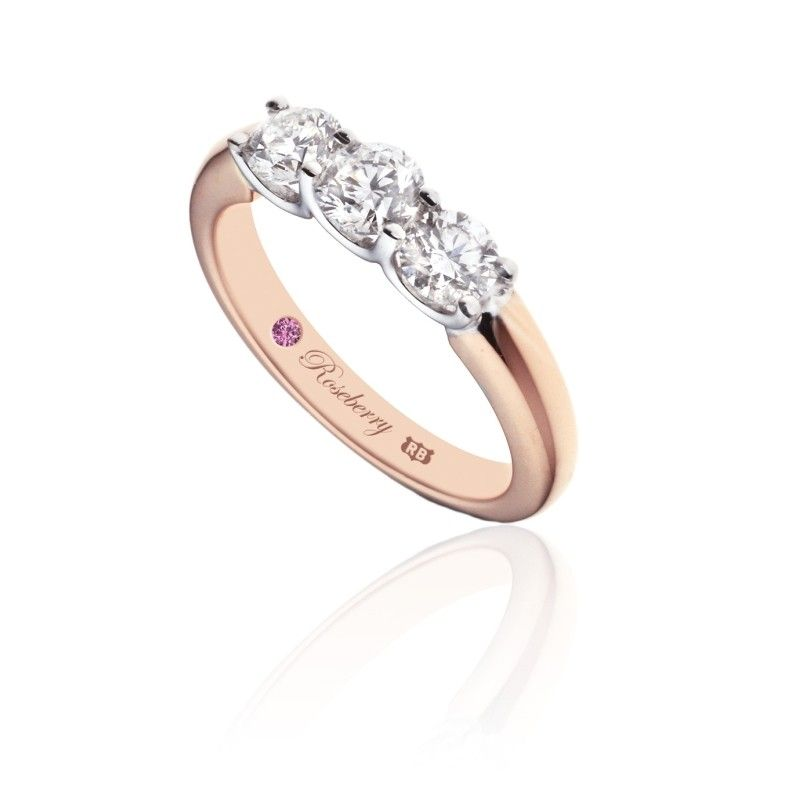 Roseberry Lily 18ct Rose Gold 150 Carat Diamond Three Stone Eternity Ring