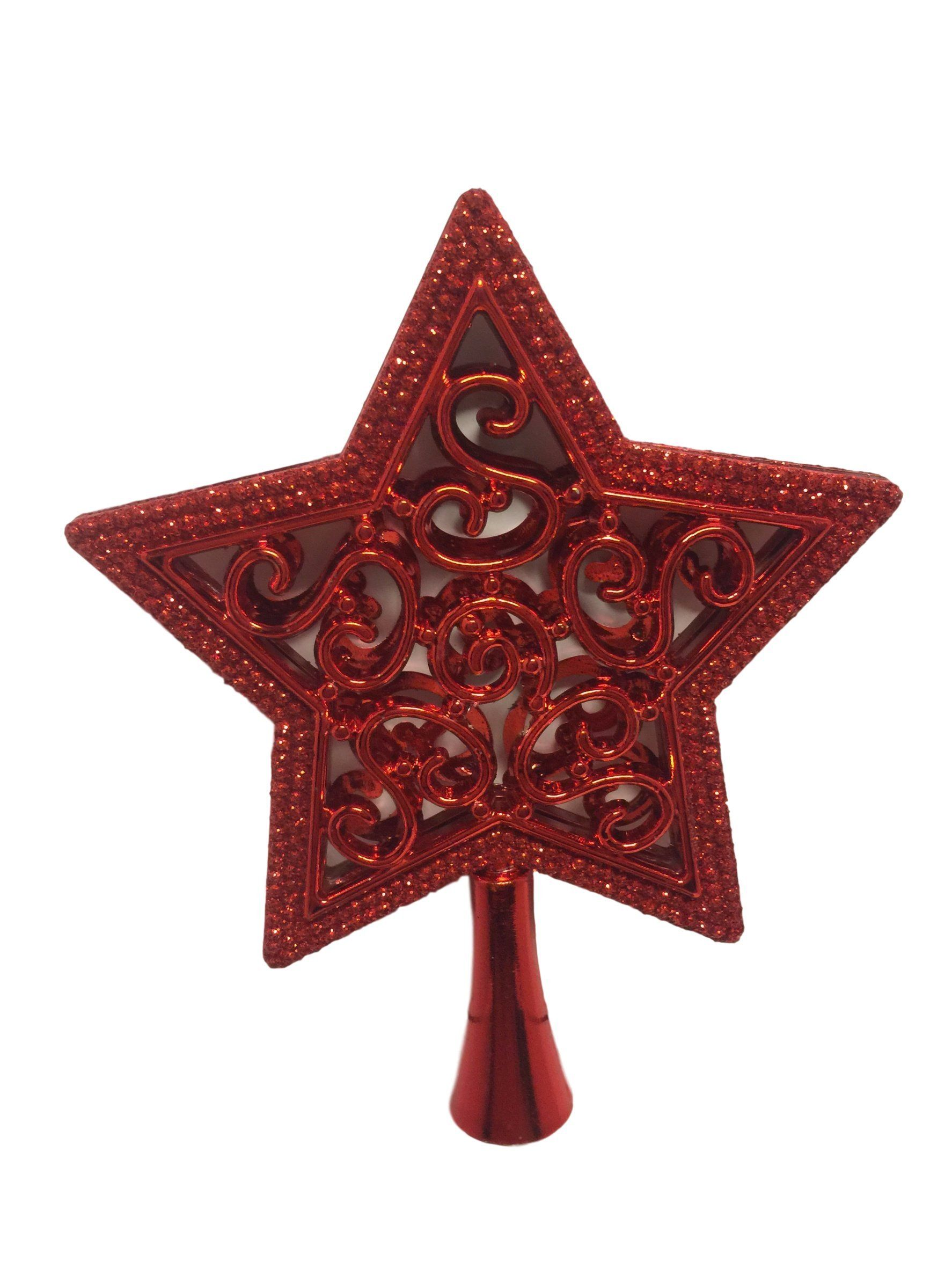 Small Red Glitter 5 Point Star Tree Topper