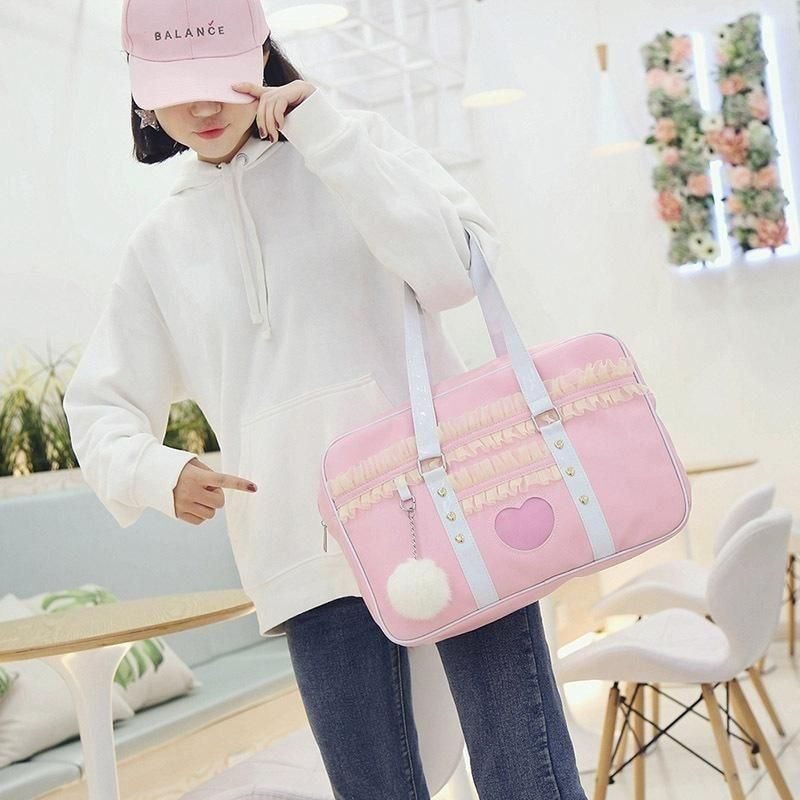 6ffceaf8d3 Ruffled Pink Duffle Gym Bag Handbag Purse Fairy Kei