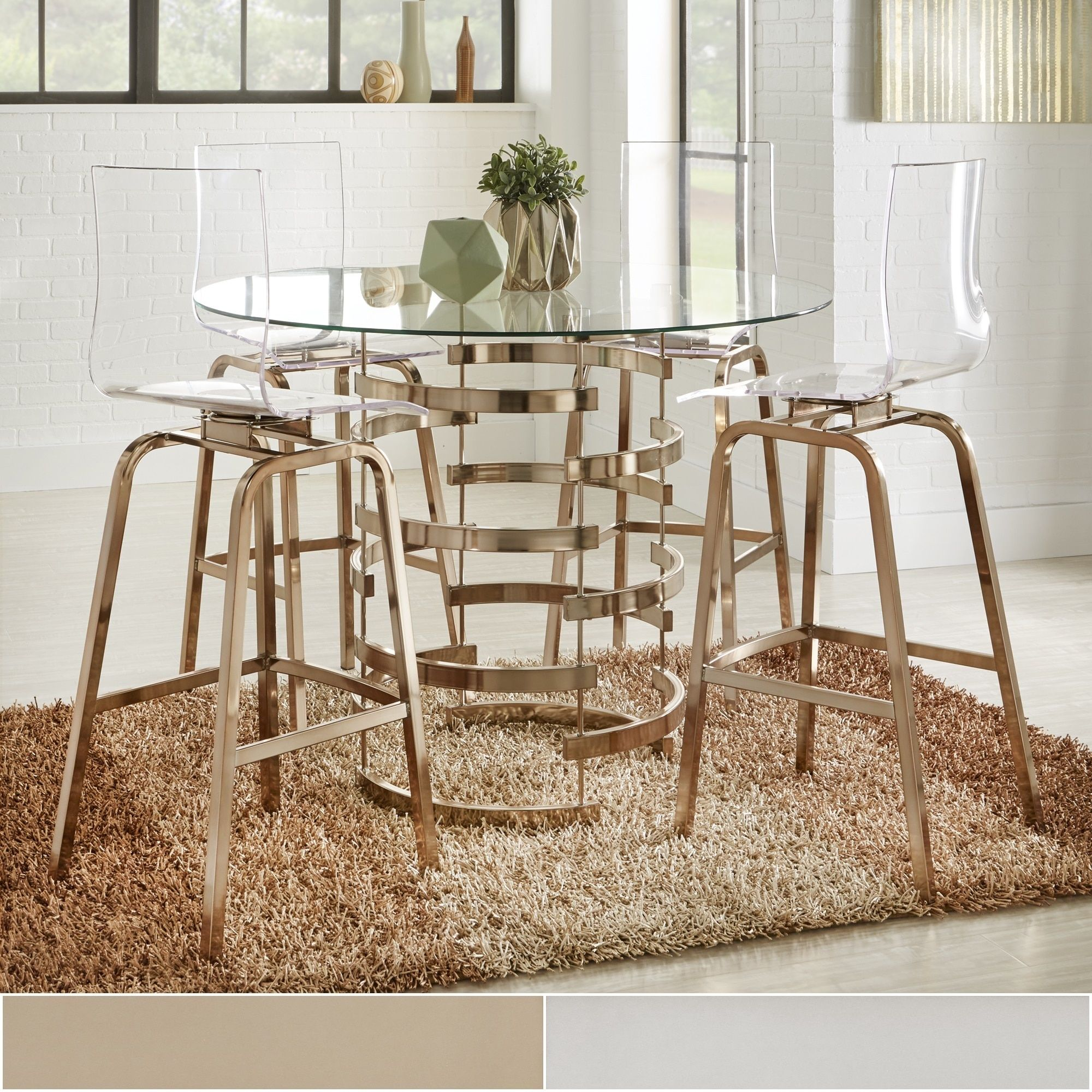 Nova Round Glass Top Vortex Iron Base Counter Height Table by Inspire Q  (Chrome Counter Height Dining table), Silver