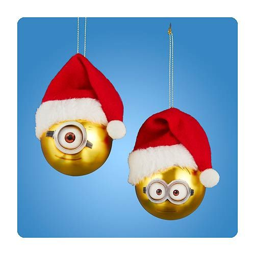 Despicable Me Minion Gold Ball Glass Christmas Ornament Set - Despicable Me Minion Gold Ball Glass Ornament Set Modern Christmas