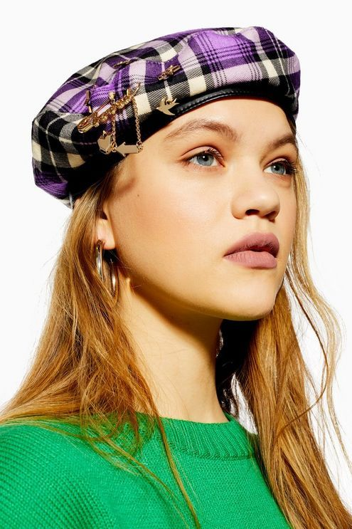 e36df2a0aff25 Womens Tartan Charm Beret - Purple in 2019