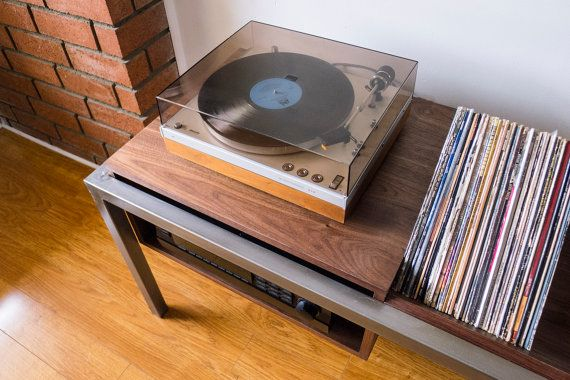 Hudson Record Player Table with Vinyl Storage by WillCarlsonDesign