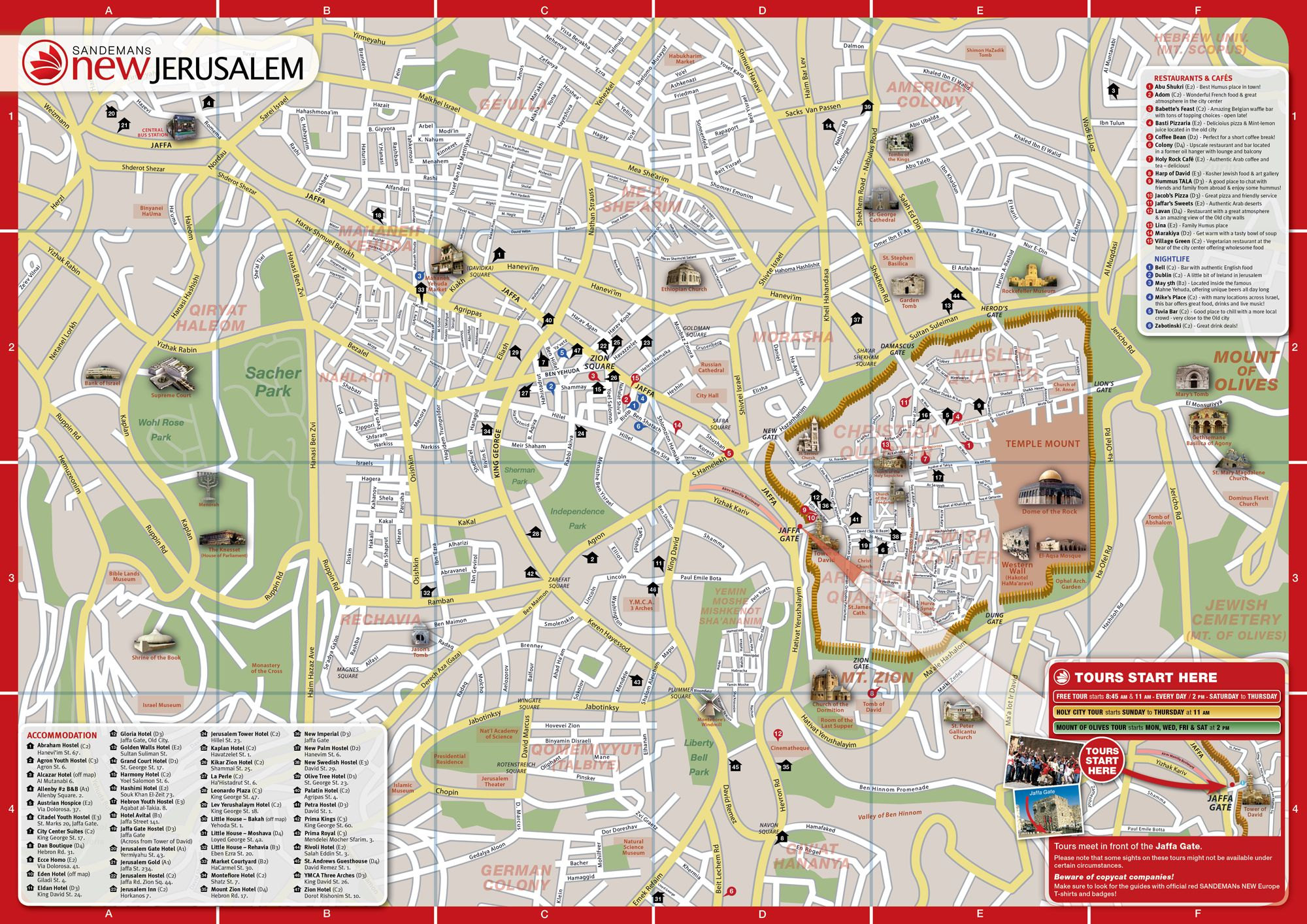 Detailed Tourist Map Of Jerusalem