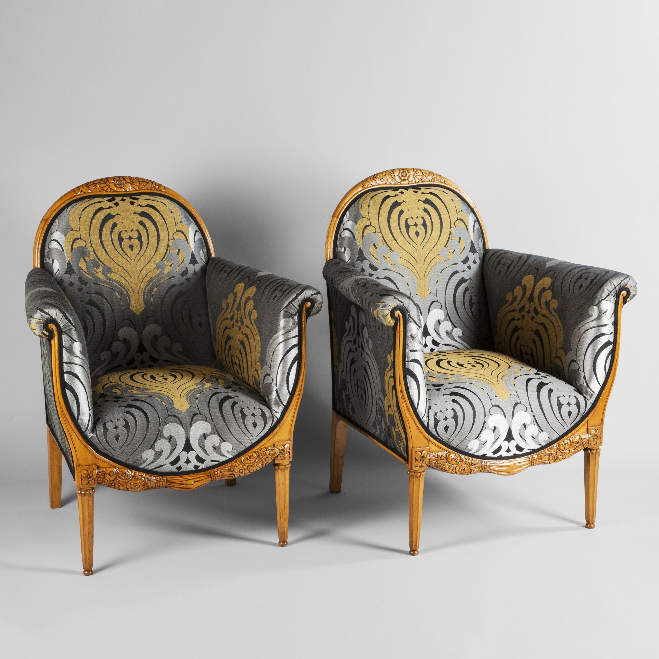Candy Sessel Harlem Paul Follot Two Bergere Armchairs Circa 1930 Paul Follot Two