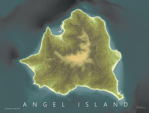 Angel Island Map Art Measurement Map LiDAR and Sonar Map San