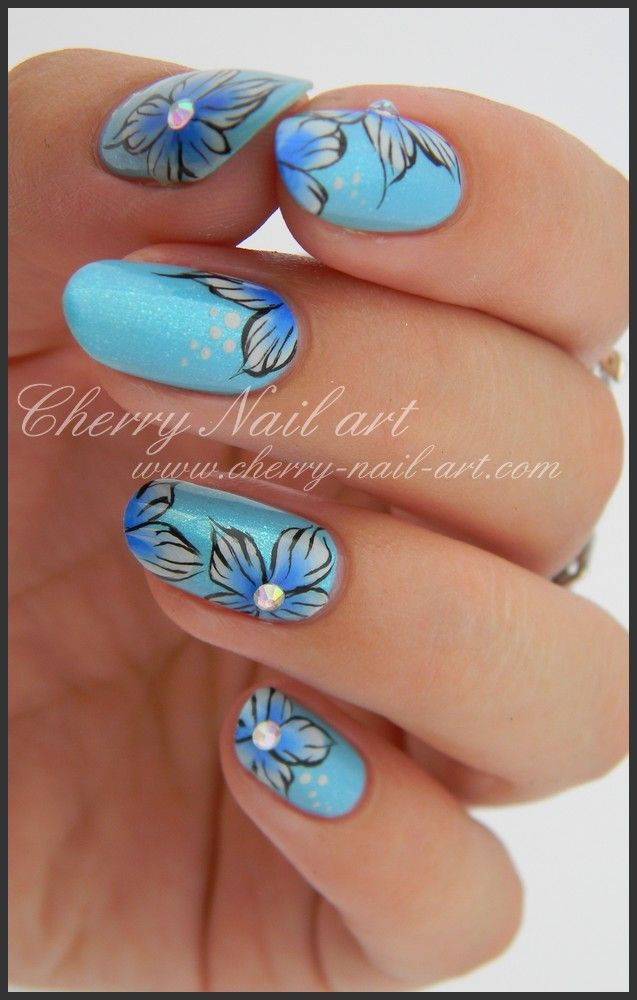 Nail art one stroke flower color and rhinestones exchange