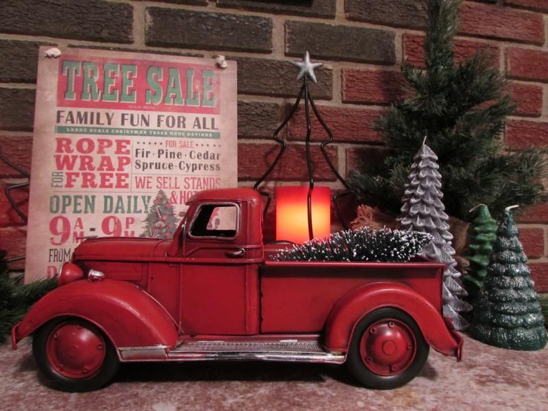 Vintage Red Truck With Christmas Tree Christmas Red Truck Red Truck Decor Christmas Truck