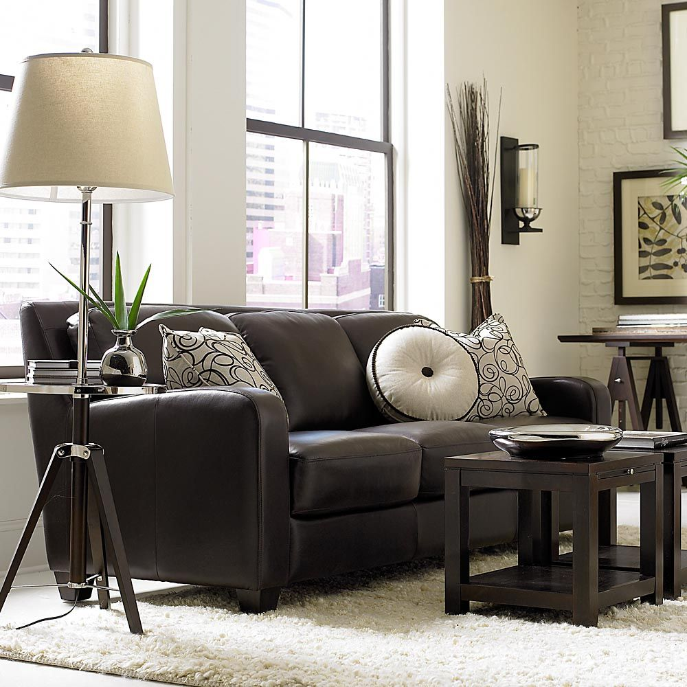 classic dark brown leather sofa from bassett lookout. Black Bedroom Furniture Sets. Home Design Ideas