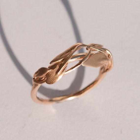 Hojas anillo No.2 14K anillo de oro rosa Anillo por doronmerav