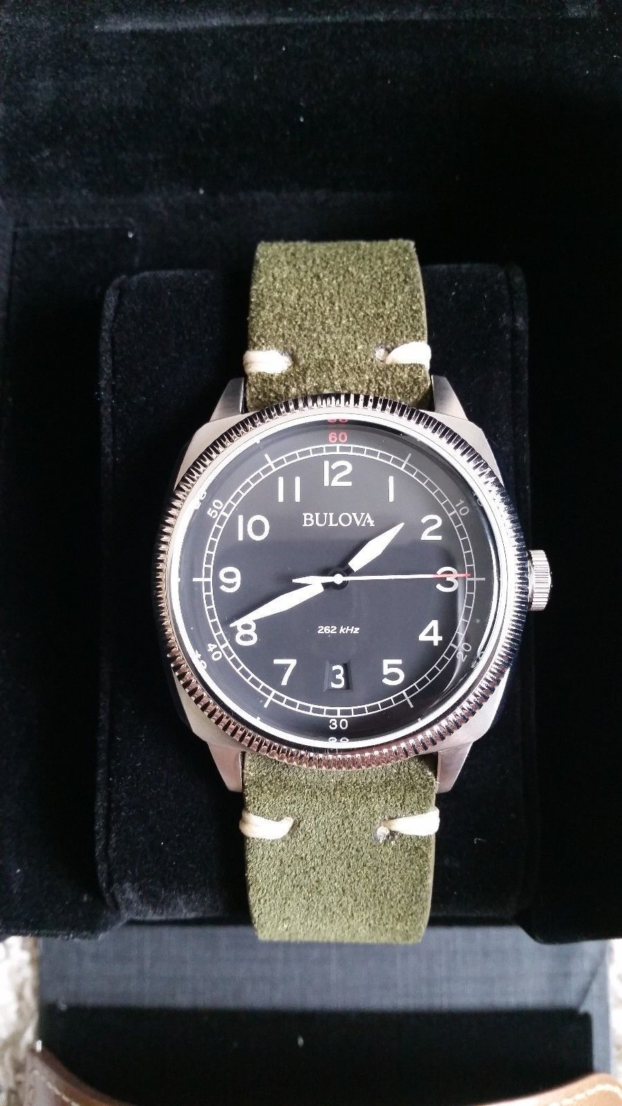 721a0e612 Bulova 96B230 UHF Military Black Dial Men's Field Watch Deer Suede Vintage  Strap