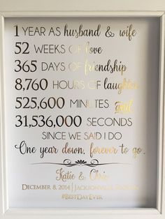 first 1st anniversary gift anniversary gift for husband or wife customizable real gold foil print paper anniversary