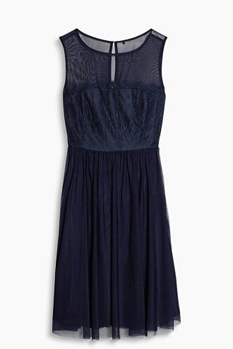 Navy Kleid Spitze knielang elegant Cocktail | Kleid spitze ...