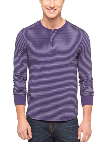 e9c63efe Men's Long Sleeve Henley Shirt - Mossimo Supply Co. - Cement (Purple w/  White Stripes)