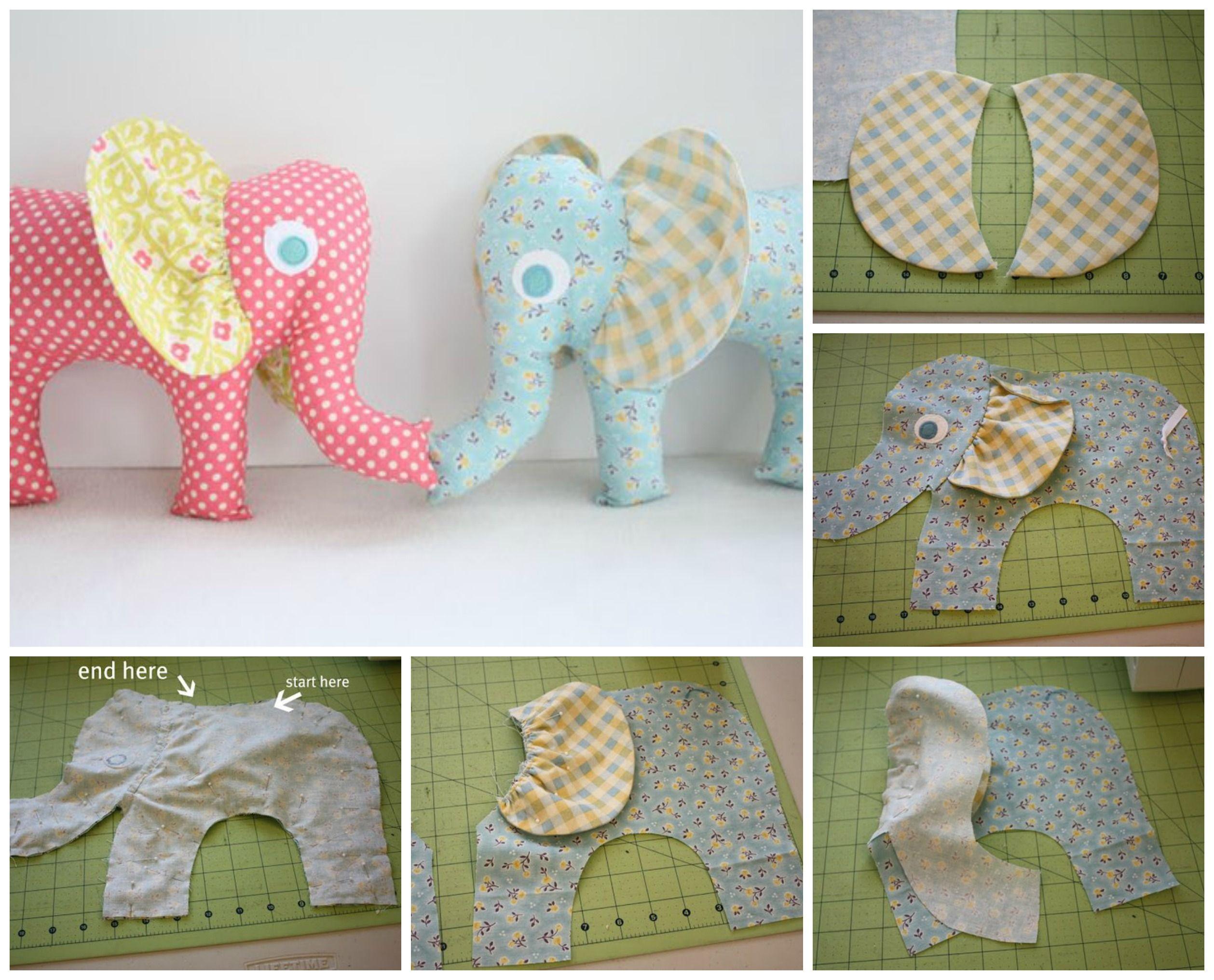 Patrones para hacer un peluche de elefante de tela - Como hacer cuadros de tela ...