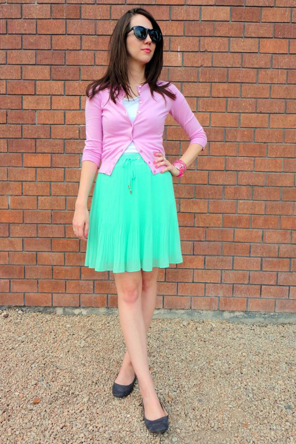 Bright Spring Colors! Pink Cardigan With A Pleated Mint Skirt, The Perfect  Spring Outfit