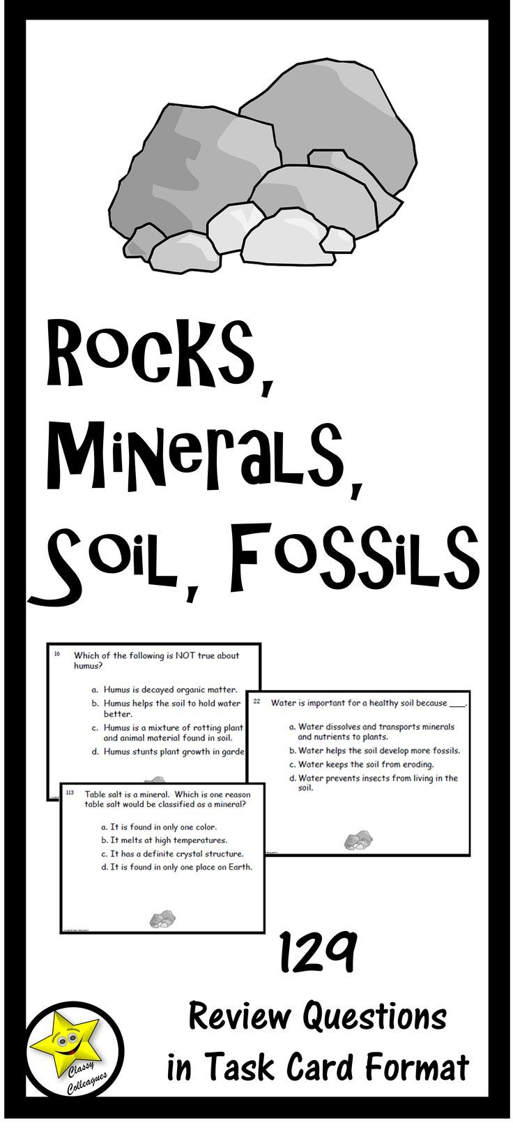 Rocks Minerals Soil Fossils Task Cards Distance Learning Task Cards Third Grade Earth Science Curriculum Standards