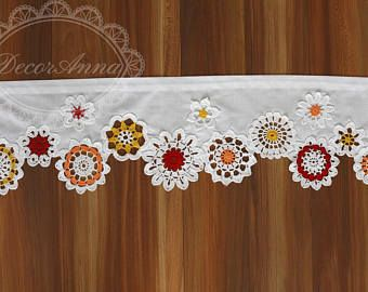 Curtain Colorful Crochet Doilies Cafe