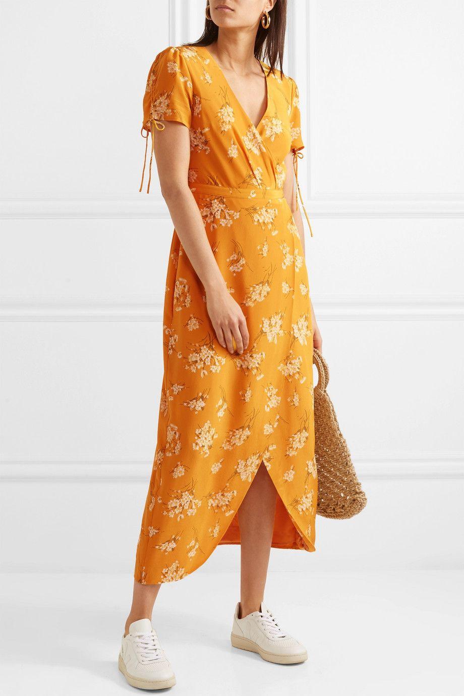 Madewell Wrap Effect Floral Print Silk Midi Dress Net A Porter Com Silk Midi Dress Floral Dress Formal Madewell Dresses [ 1380 x 920 Pixel ]