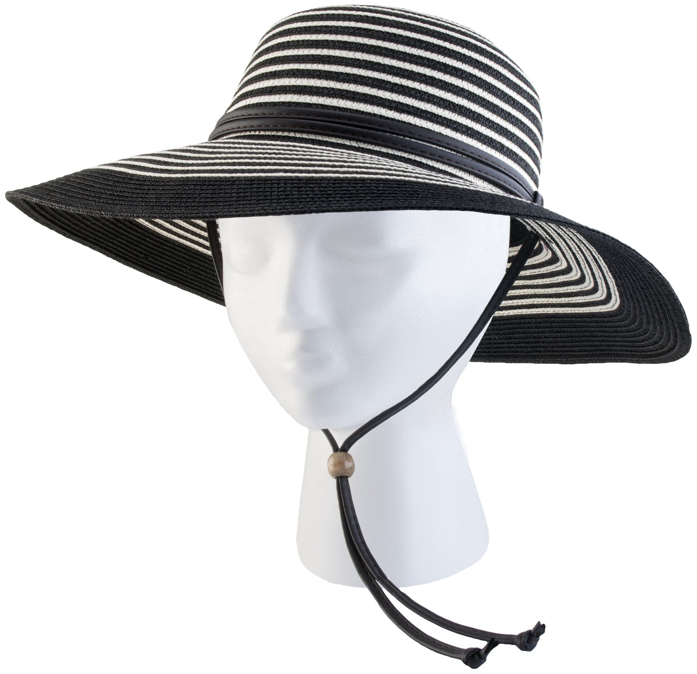 a1a633240bca5 Amazon.com  Sloggers 442DB01 Women s Wide Brim Braided Sun Hat with Wind  Lanyard - Dark Brown - Rated UPF 50+ Maximum Sun Protection  Clothing