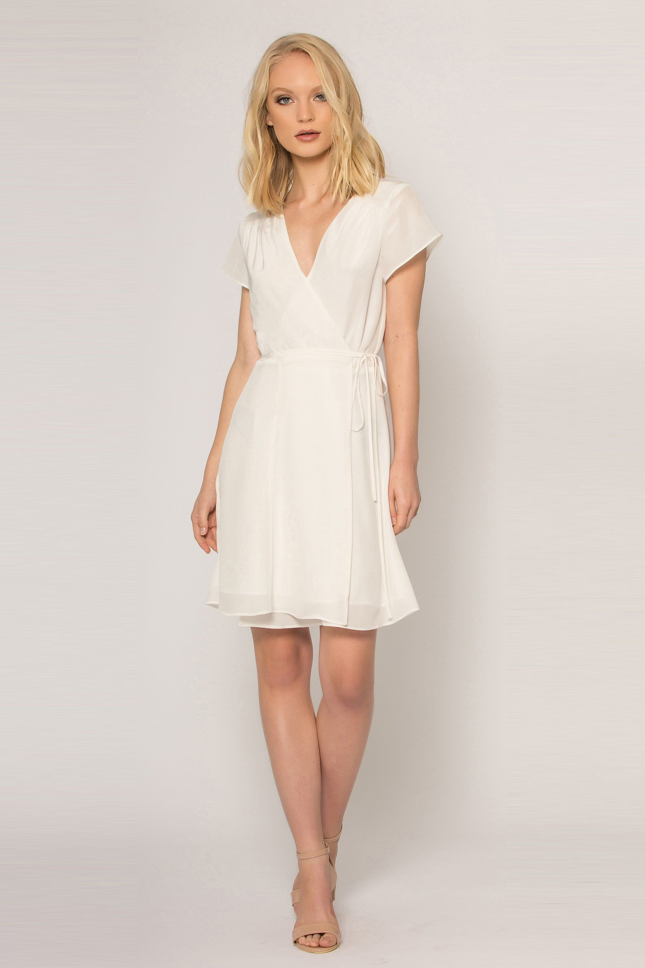 Ivory Short Sleeve Silk Wrap Dress In 2021 Silk Wrap Dresses Wrap Dress Short Brown Silk Dress [ 3300 x 2200 Pixel ]