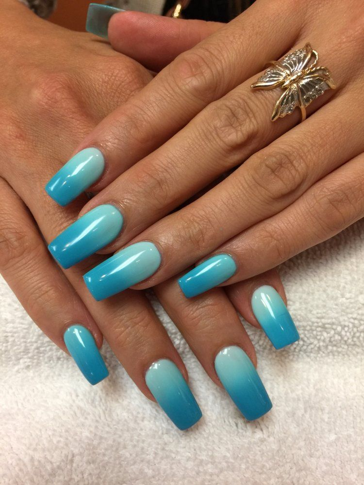 Blue ombre acrylic coffin nails | Makeup/Fashion/Nails ...