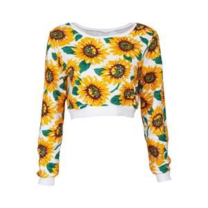 Sunflowers Print White Sweatshirt.Step up your game with this awesome white sweatshirt, featuring a midriff fit and sunflowers print, white ribbed at neckline, cuffs and hem, loose/boxy fit. Due to the unique nature of this item, color may vary slightly. Looks cool with skinnies and a bold clutch! - See more at: http://pariscoming.com/en-sunflowers-print-white-sweatshirt-p149296.htm#sthash.3QVCl1xC.dpuf