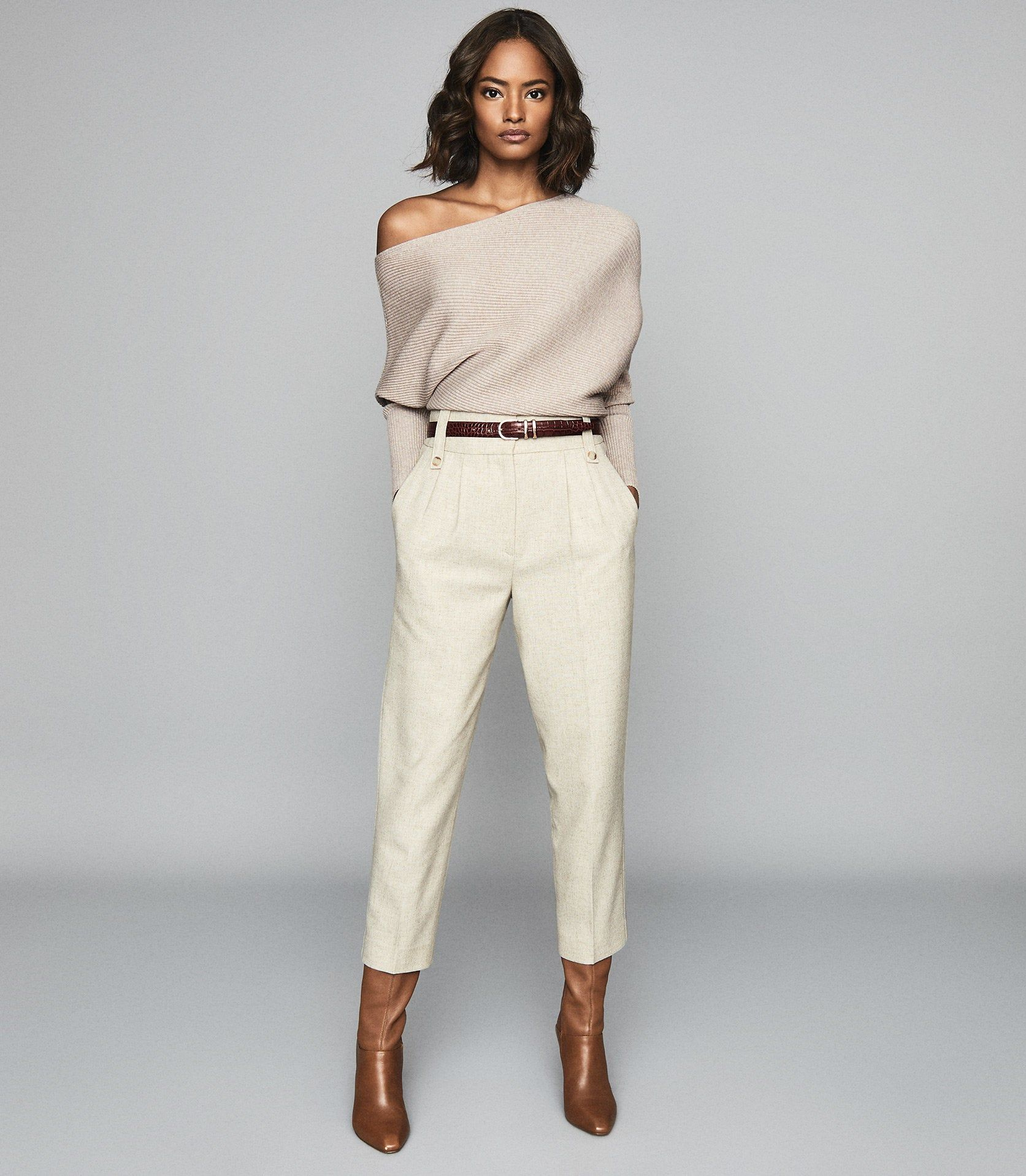 Reiss Lorna - Asymmetric Knitted Top in Stone, Wom
