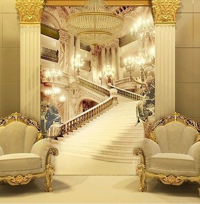 3d Wallpaper Mural Palace Stairs Wall Paper Background