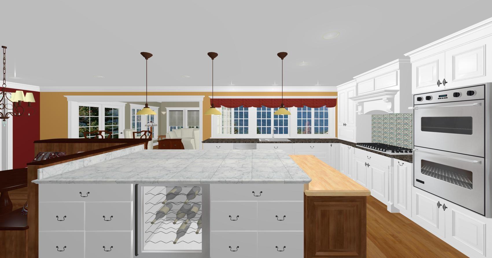 New kitchen island with wine cooler drop down butcher block top