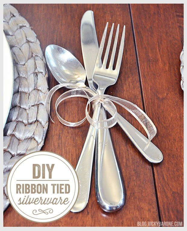 DIY Ribbon Tied Silverware | Thanksgiving Place settings | Last minute thanksgiving ideas | Wedding table & Ribbon Tied Silverware | Wedding table settings Thanksgiving ideas ...