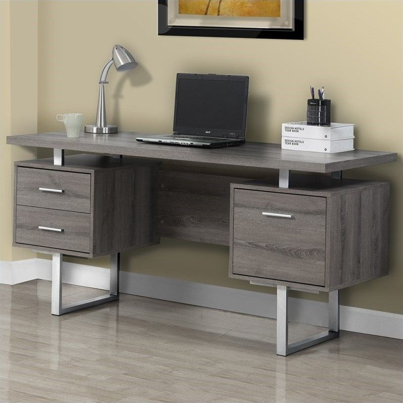 Monarch Specialties Dark Taupe Reclaimed Look/Silver Metal Office Desk,  Large Floating Top Work Surface Two Drawers With Silver Colored Hardware 1  Spacious ...