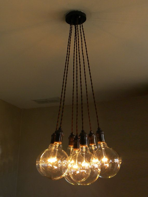 Modern dining chandelier 7 light cluster pendant modern for Industrial bulb pendant