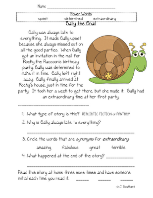 snail comprehension | First Grade Reading | Pinterest ...