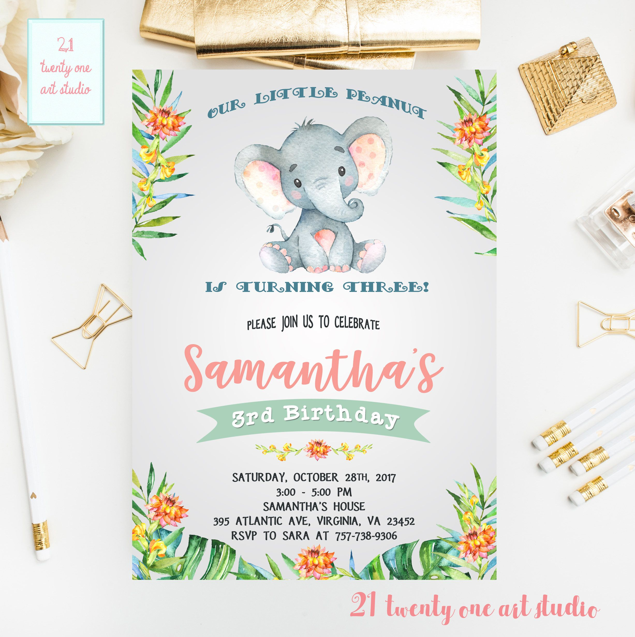 Girl Birthday Invitations Printable Elephant Invitation Safari