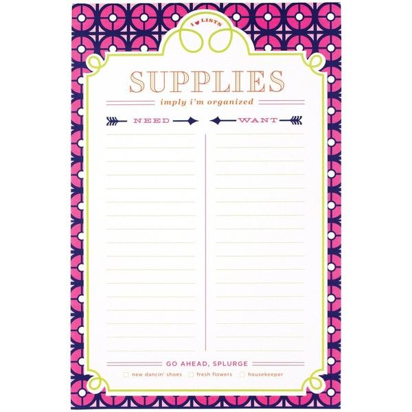 Jonathan Adler List Pad, Iron Gate (Supplies) ($6.40) ❤ liked on Polyvore featuring home, home decor, office accessories and jonathan adler