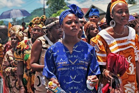 ladies dressed in their African wear emancipation day My People - copy blueprint jouvert band 2014